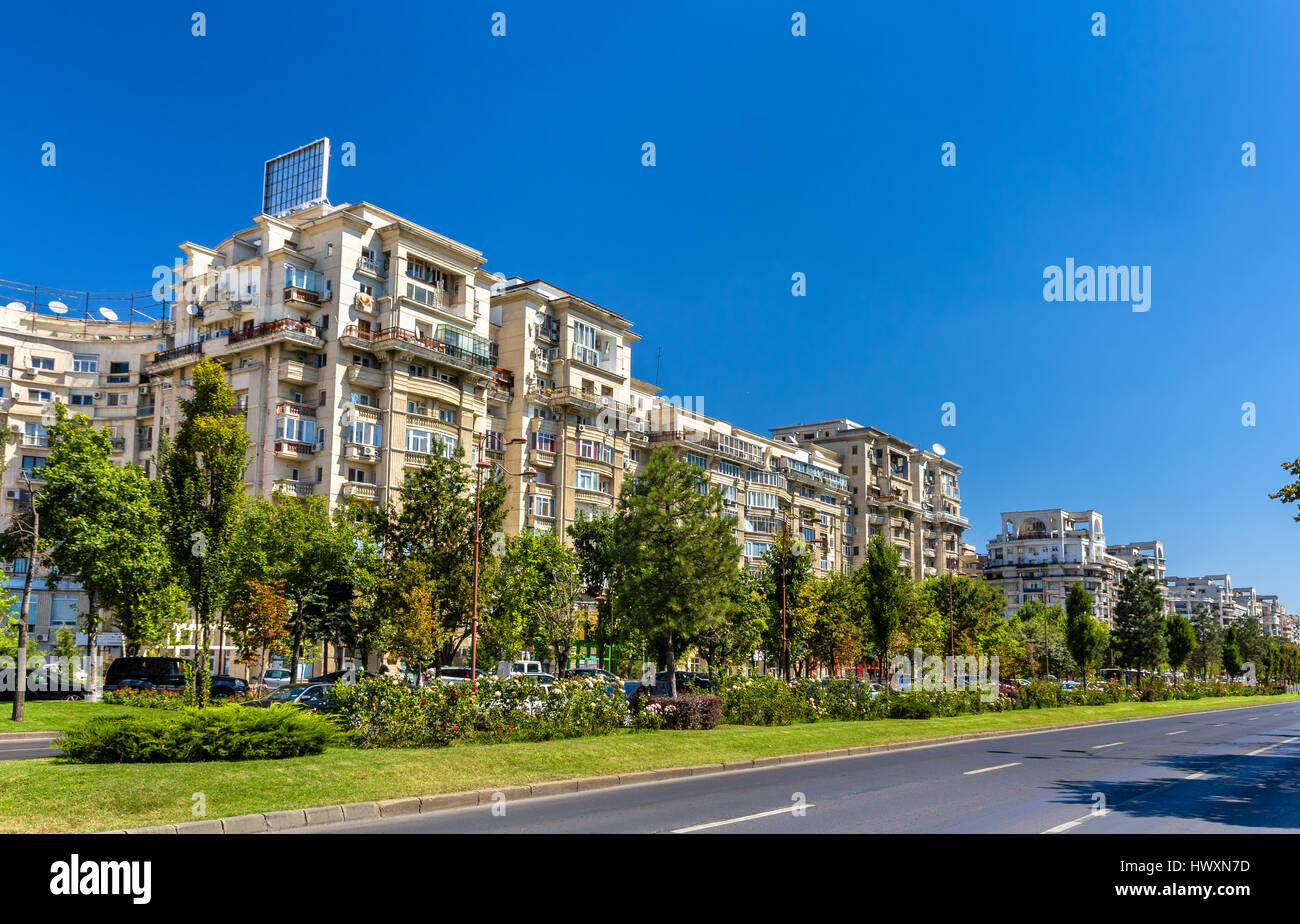 Residential buildings in Unirii Boulevard - Bucharest, Romania Stock Photo