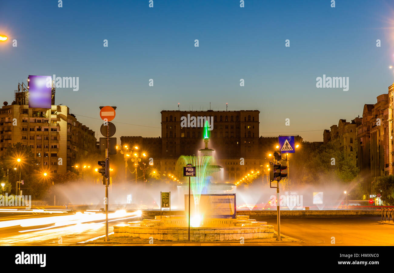 Fountain in Unirii Square - Bucharest, Romania Stock Photo