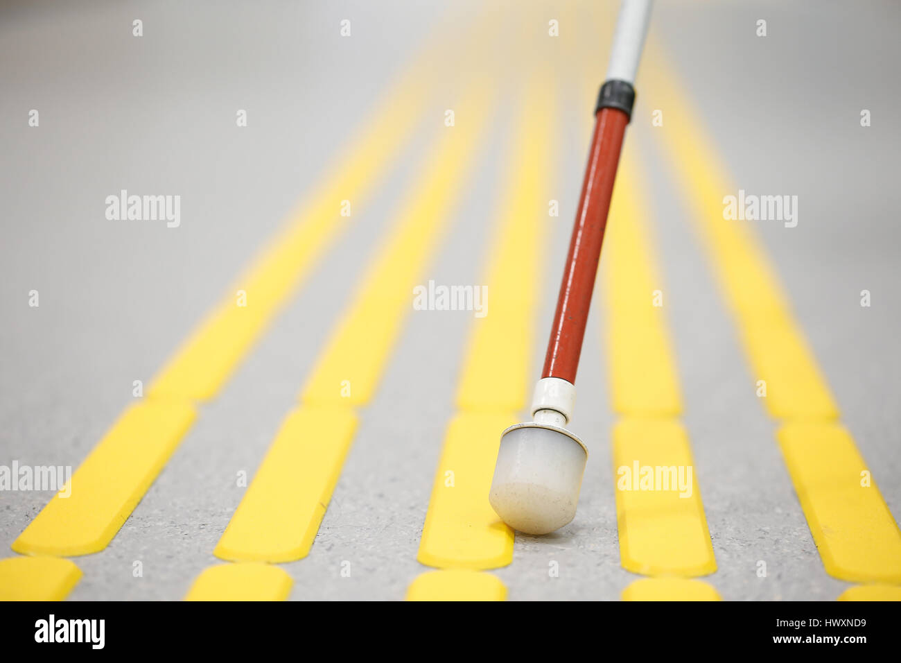 Blind pedestrian walking and detecting markings on tactile paving with textured ground surface indicators for blind and visually impaired. Blindness a Stock Photo