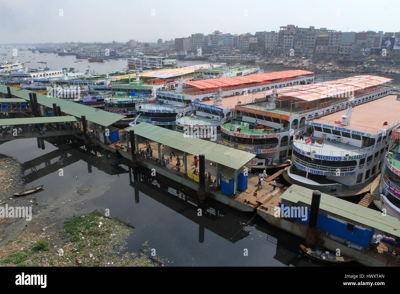2014. Sadarghat launch terminal, Bangladesh. - Stock Image