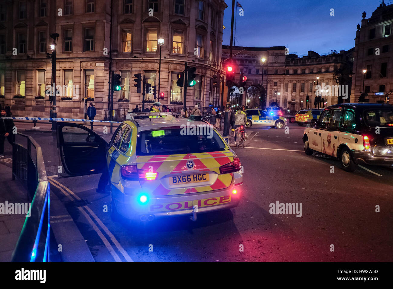 Metropolitan Police vehicle positioned at cordoned off Whitehall in central London following terrorist attack in - Stock Image