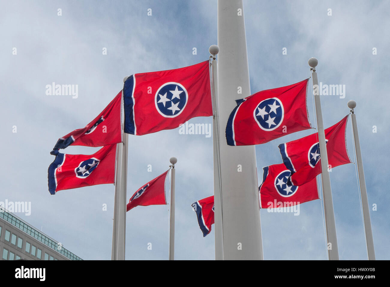 Tennessee State flags, Nashville, Tennessee - Stock Image