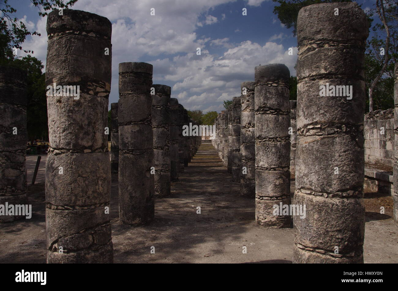 Temple of Thousands Warriors, Chichen Itza, Yucatan, Mexico - Stock Image