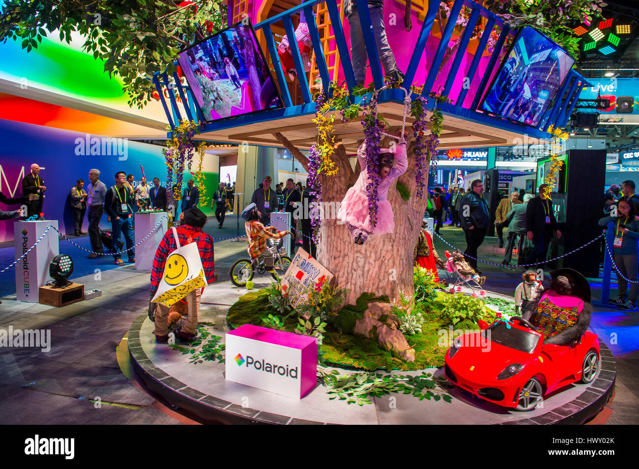 LAS VEGAS - JAN 08 : The Polaroid booth at the CES show held in Las Vegas on January 08 2017 , CES is the world's Stock Photo