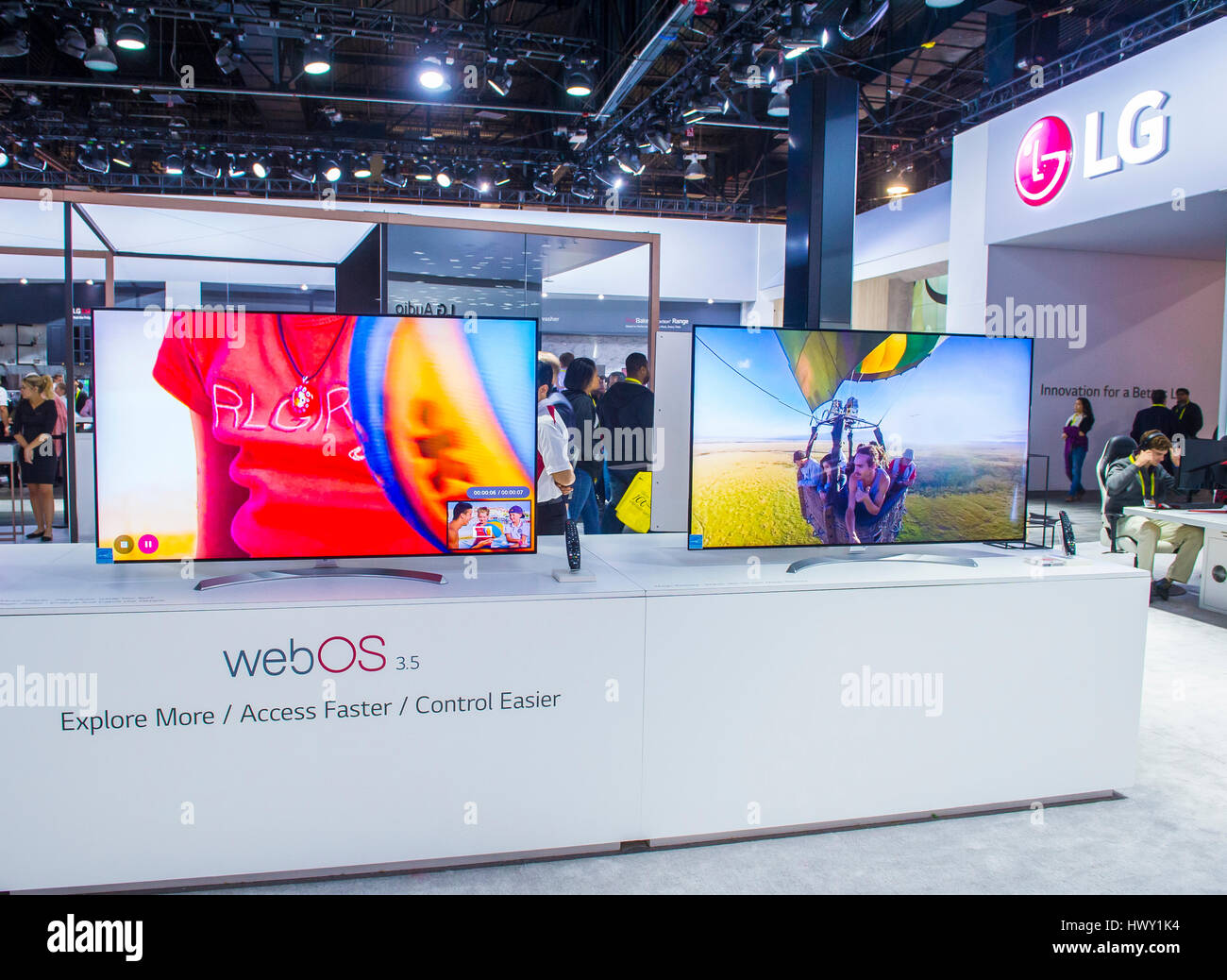 LAS VEGAS - JAN 08 : The LG booth at the CES show held in Las Vegas on January 08 2017 , CES is the world's leading Stock Photo