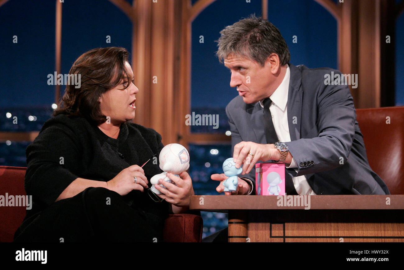 Rosie O'Donnell, left, chats with host Craig Ferguson about Munny toys during a segment of 'The Late Late - Stock Image