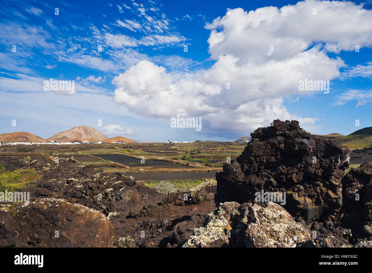 archaic vulcan landscape of Lanzarote - Stock Image