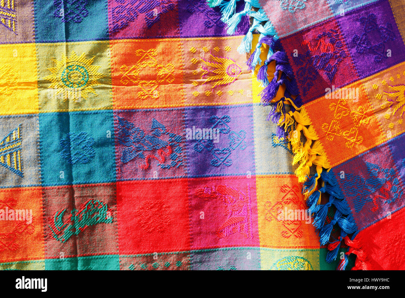 Traditional Mexican Colorful Decorated Scarf
