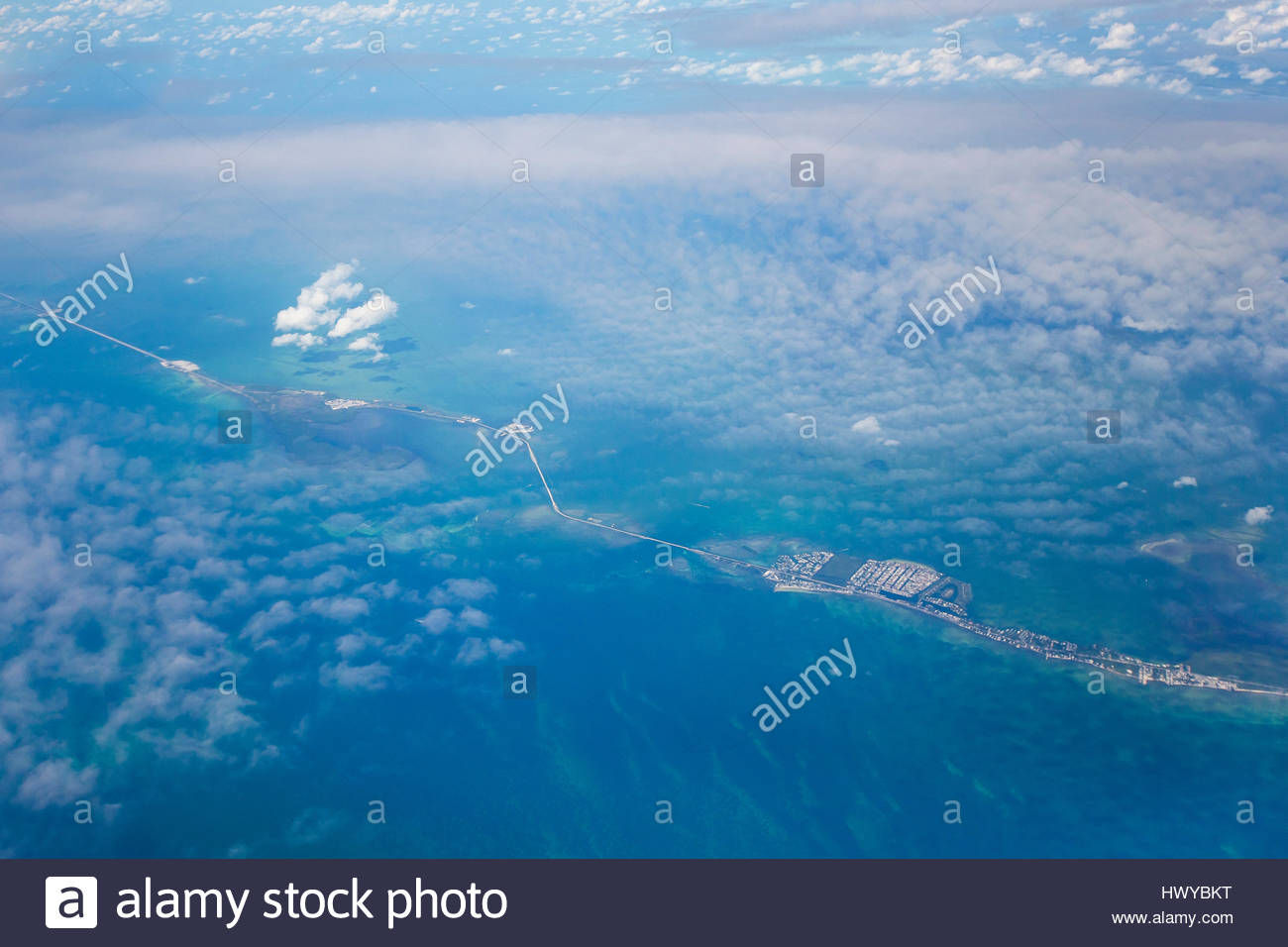 Islands connected by bridges in the Florida Keys. - Stock Image