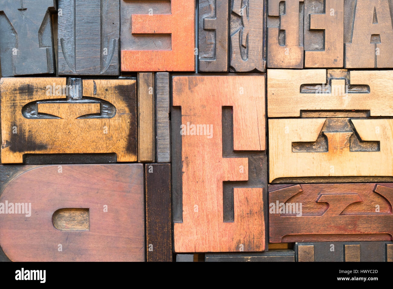 Wood Block Letter Press Lettering In Macro Detail Stock Photo