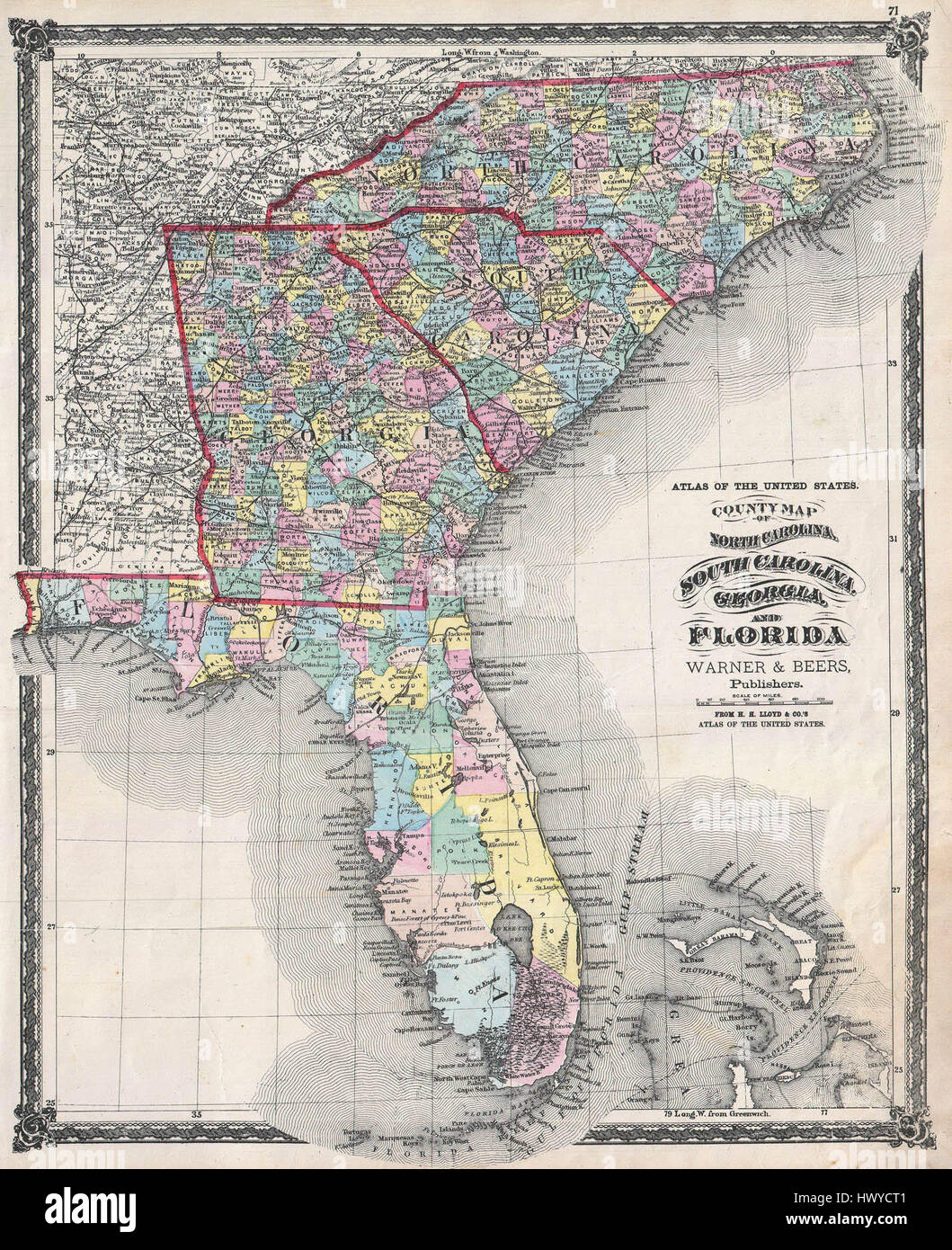 Map Of Florida Georgia South Carolina 1874 Beers Map of Florida, Georgia, North Carolina and South