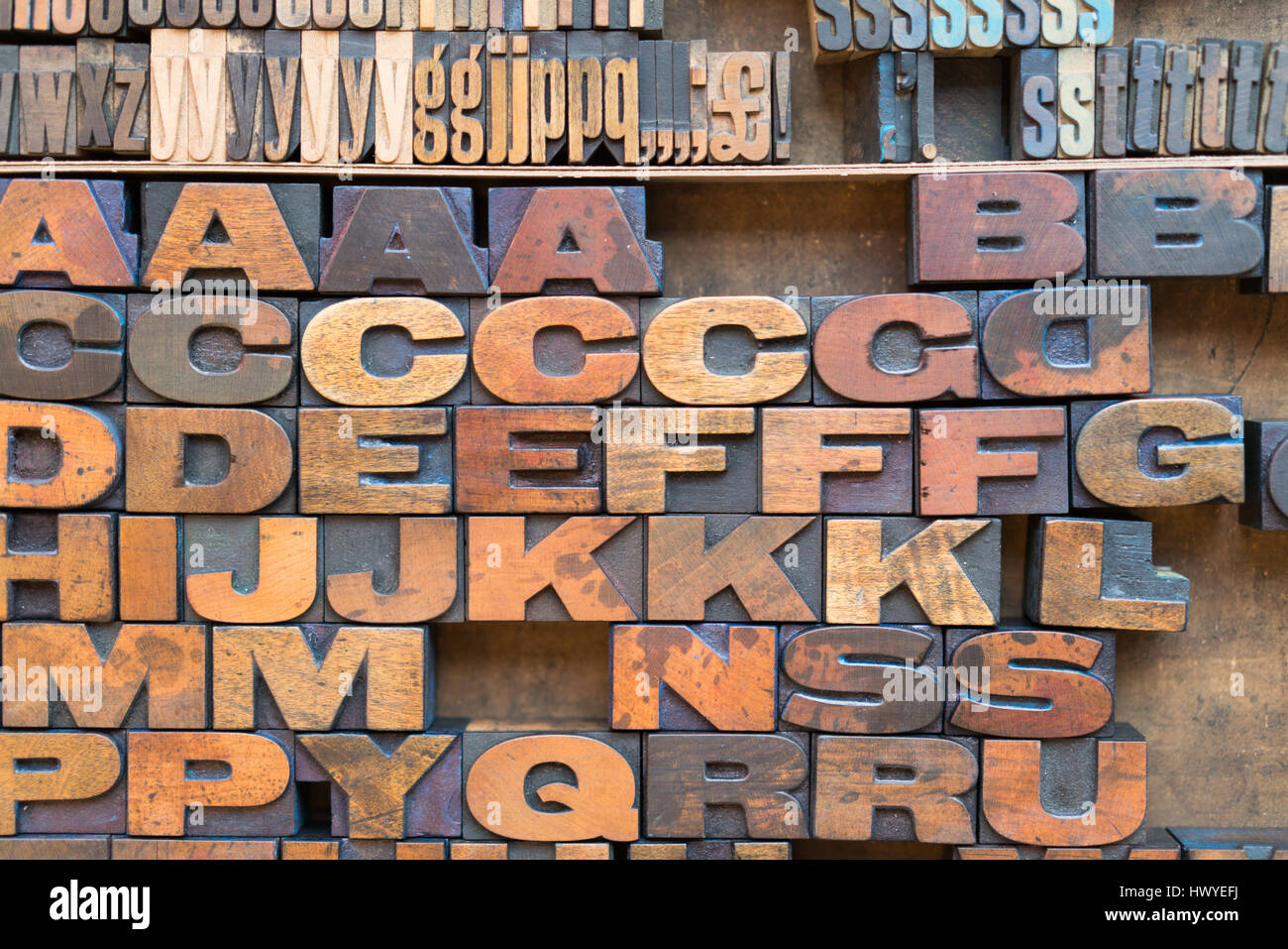 Wood block letter press lettering in macro detail - Stock Image