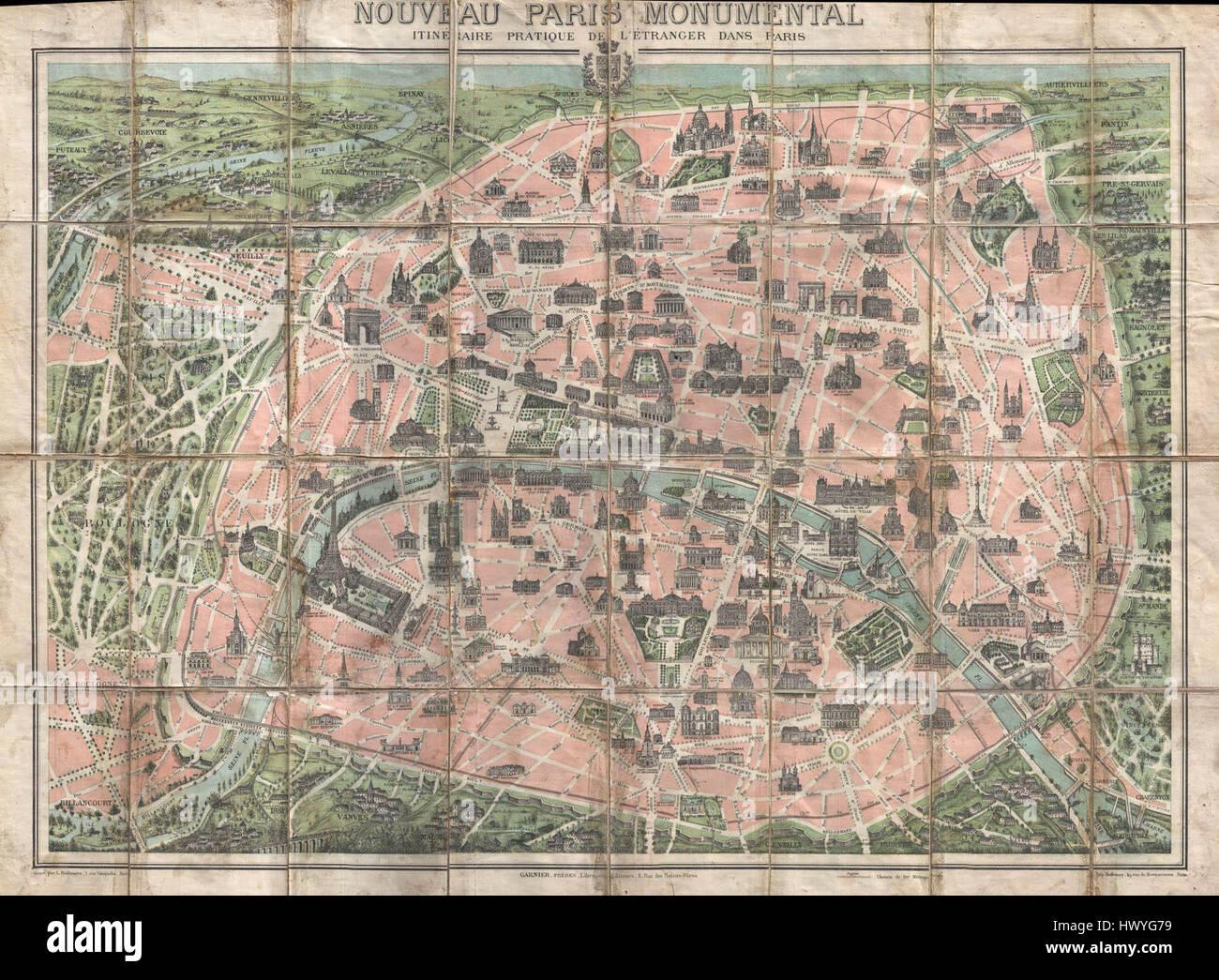 Map Of France Eiffel Tower.1900 Garnier Pocket Map Or Plan Of Paris France Eiffel Tower And