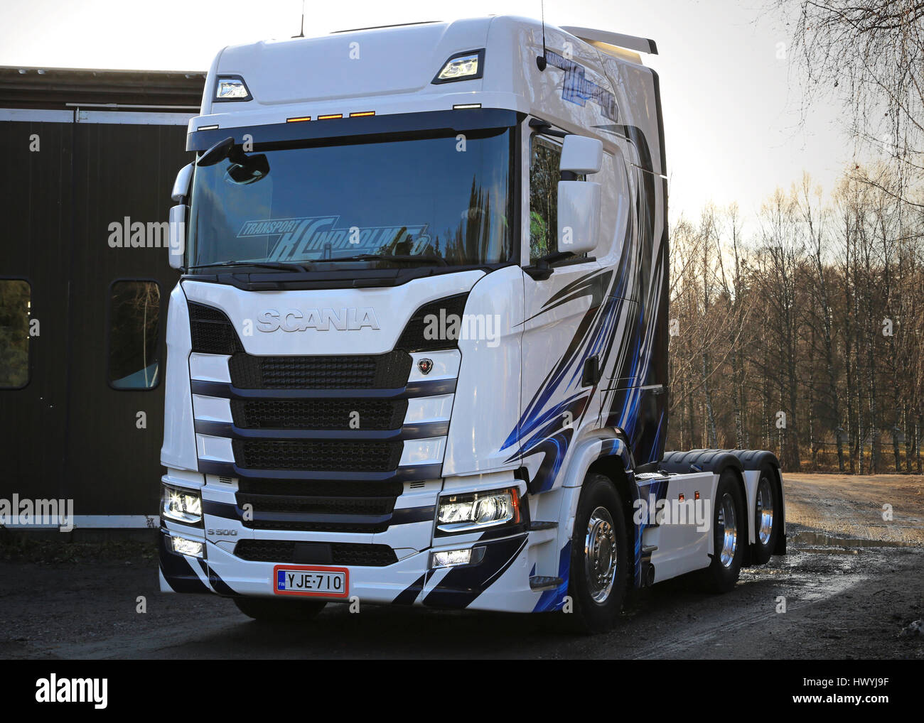 RASEBORG, FINLAND - NOVEMBER 19, 2016: Next Generation Scania S500 of Transport K Lindholm & Co. is being moved - Stock Image