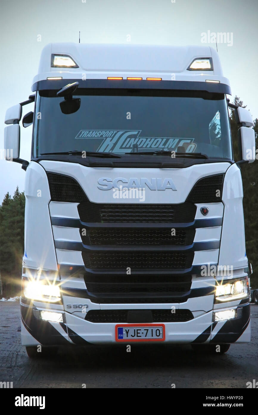 RASEBORG, FINLAND - NOVEMBER 19, 2016: Front view of Next Generation Scania S500 of Transport K Lindholm & Co. - Stock Image