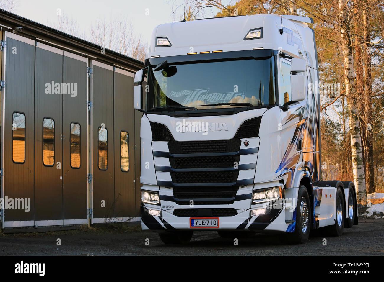 RASEBORG, FINLAND - NOVEMBER 19, 2016: Next Generation Scania S500 of Transport K Lindholm & Co. parked on a - Stock Image