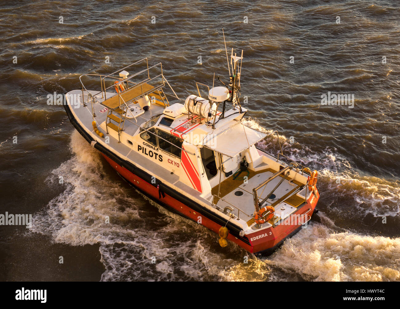 Pilot boat, comes to ship to collect pilot, Montevideo, Uruguay Stock Photo