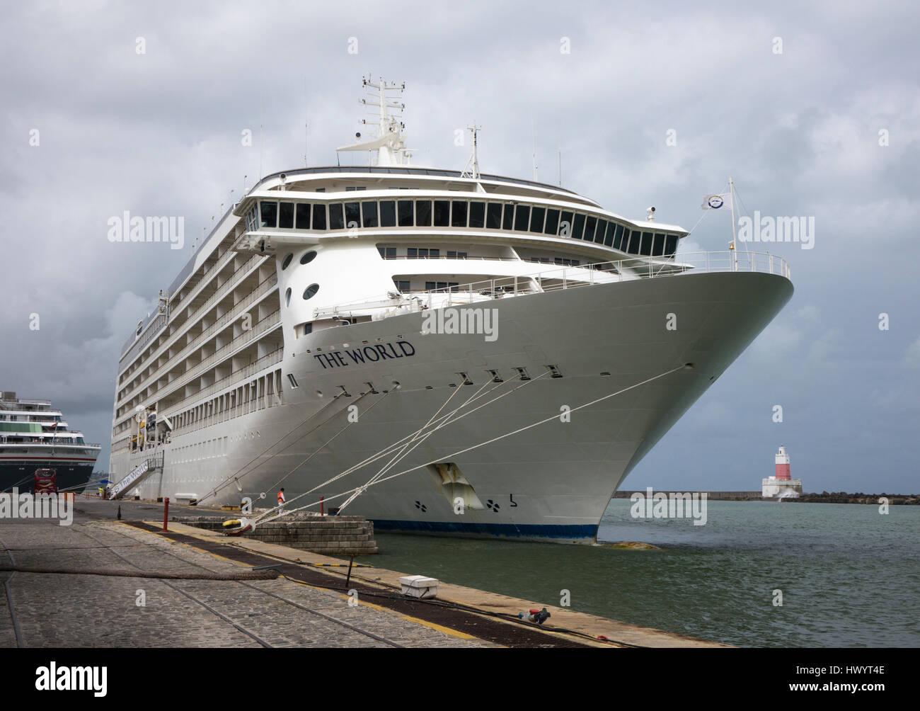 The World cruise ship moored in Rio de Janeiro, Brazil Stock Photo