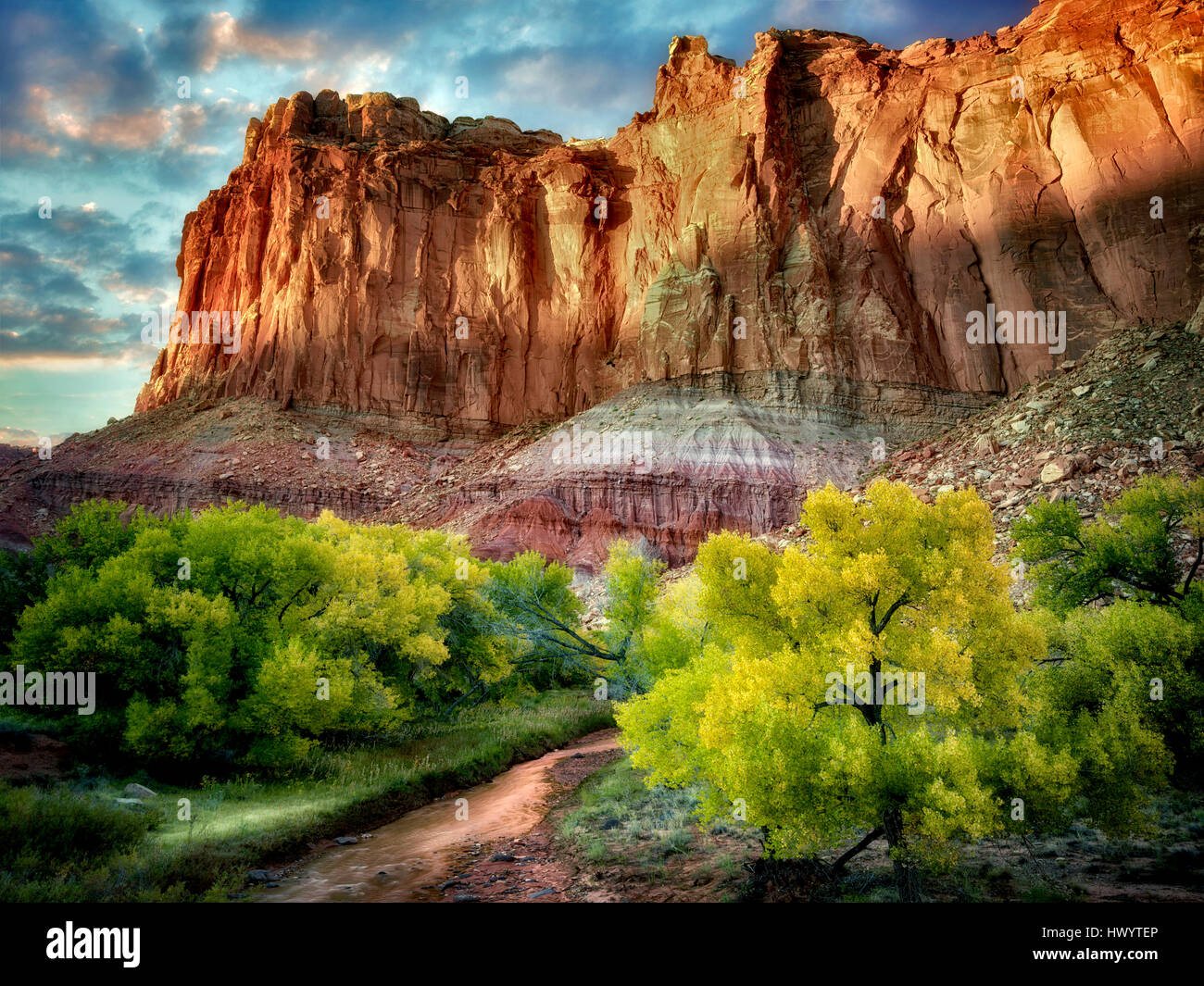 Fall colored Cottonwood Trees and rock formations. Capitol Reef National Park, Utah - Stock Image