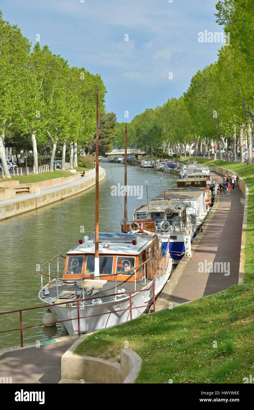 Canal de la Robin in Narbonne Stock Photo