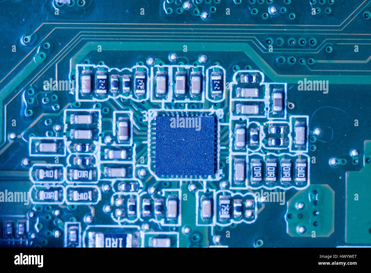 Close-up of electronic circuit board with chips and processors Stock ...