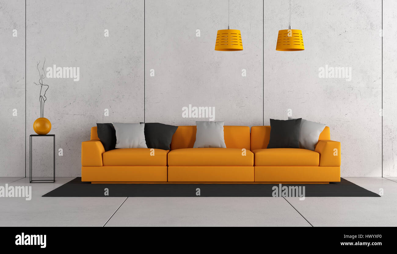 Modern living room with orange sofa and concrete wall - 3d rendering ...