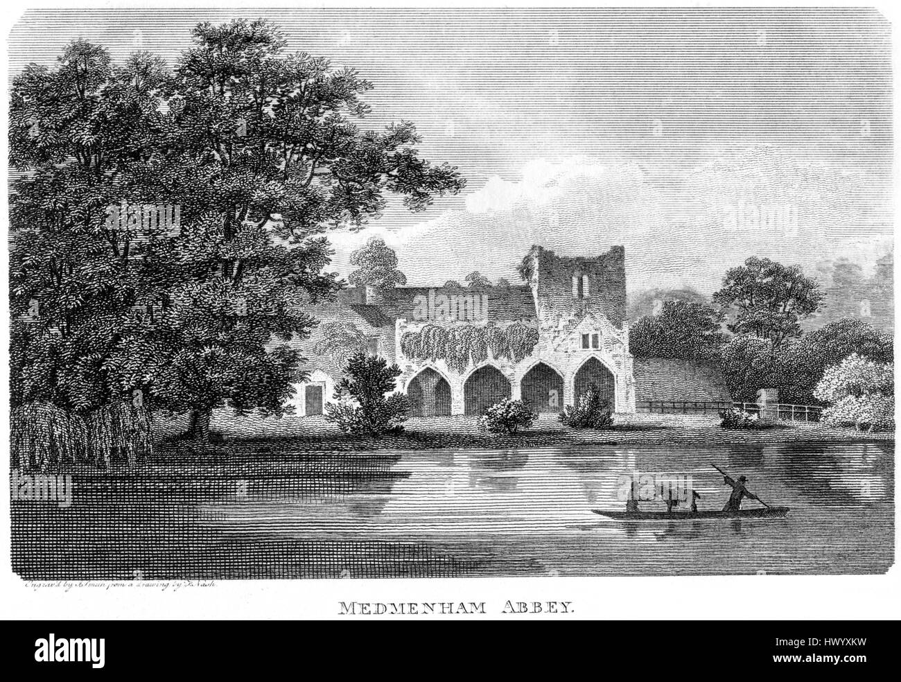 An engraving of Medmenham Abbey, Buckinghamshire scanned at high resolution from a book printed in 1812.  .Believed Stock Photo