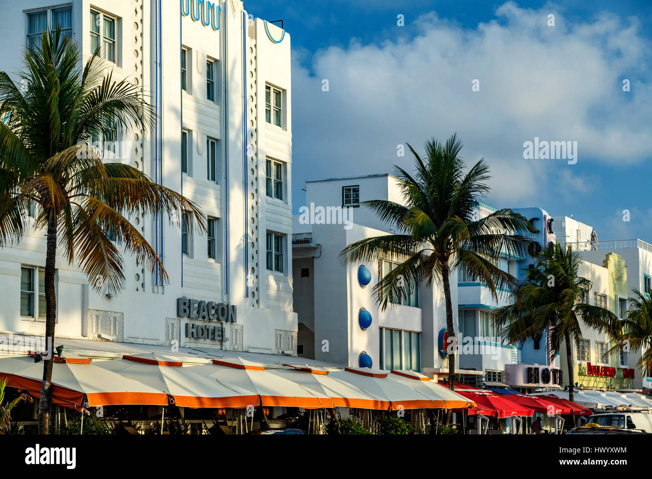 Row of hotels, South Beach, Miami Beach, Florida USA - Stock Image