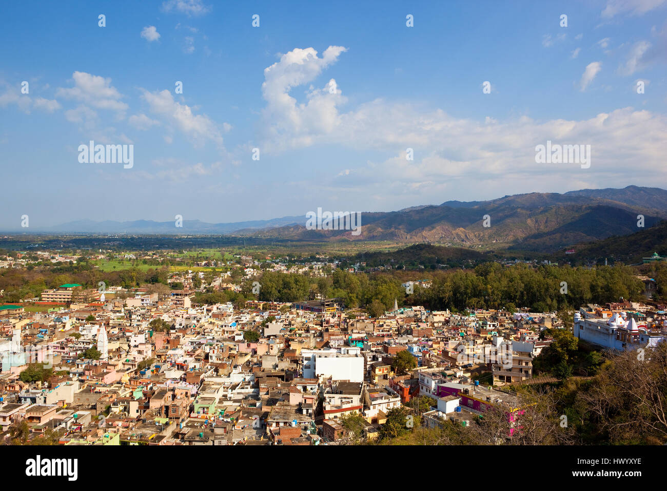 Aerial view of the city of Nalagarh in Himachal Pradesh, North India from the fort palace with mountains and a blue - Stock Image
