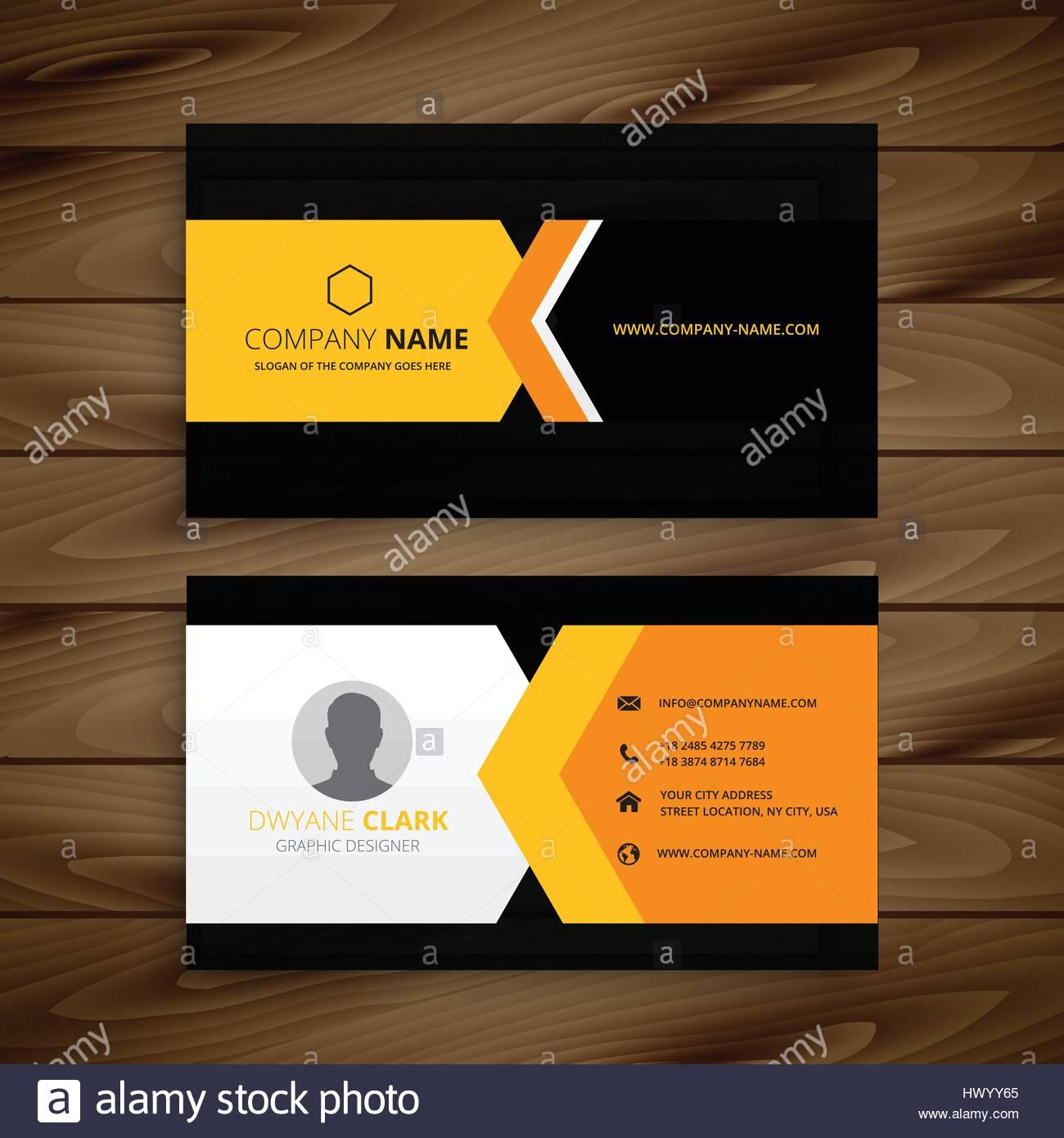 yellow black business card template vector design illustration stock