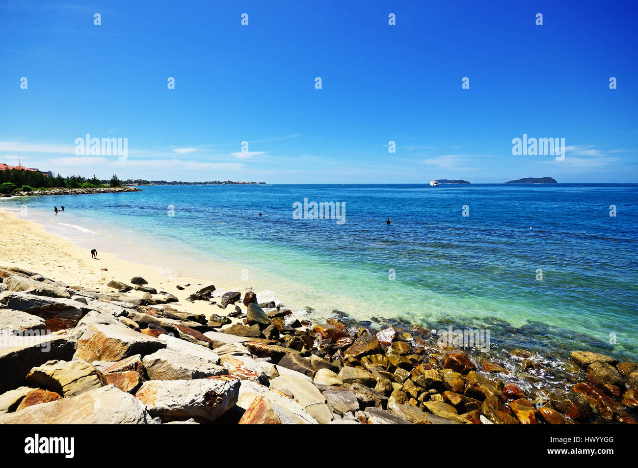 Sunny day at Kota Kinabalu Beach in Sabah Borneo, Malaysia. - Stock Image