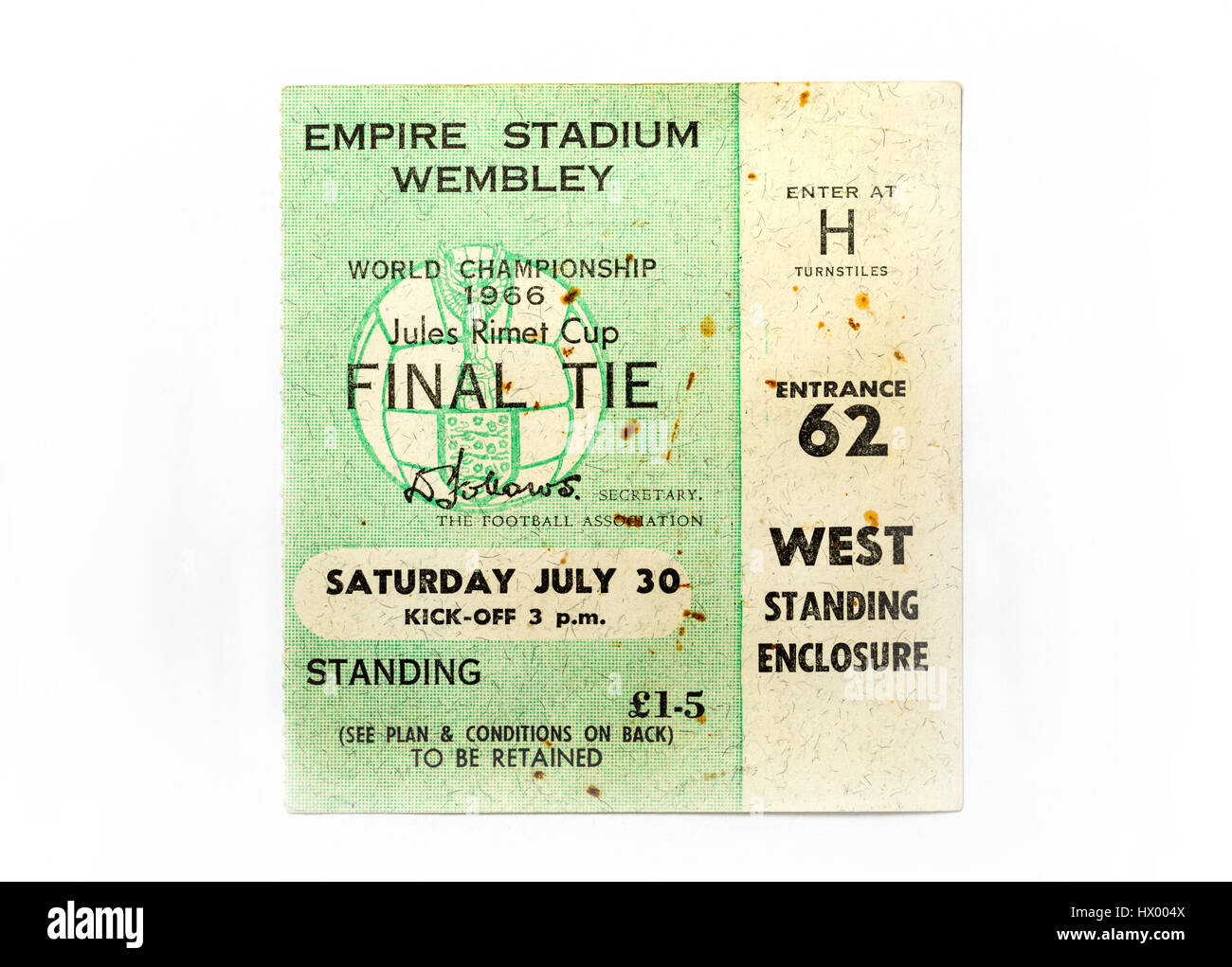 A ticket from the 1966 World Cup Final where England beat West Germany 4-2 - Stock Image