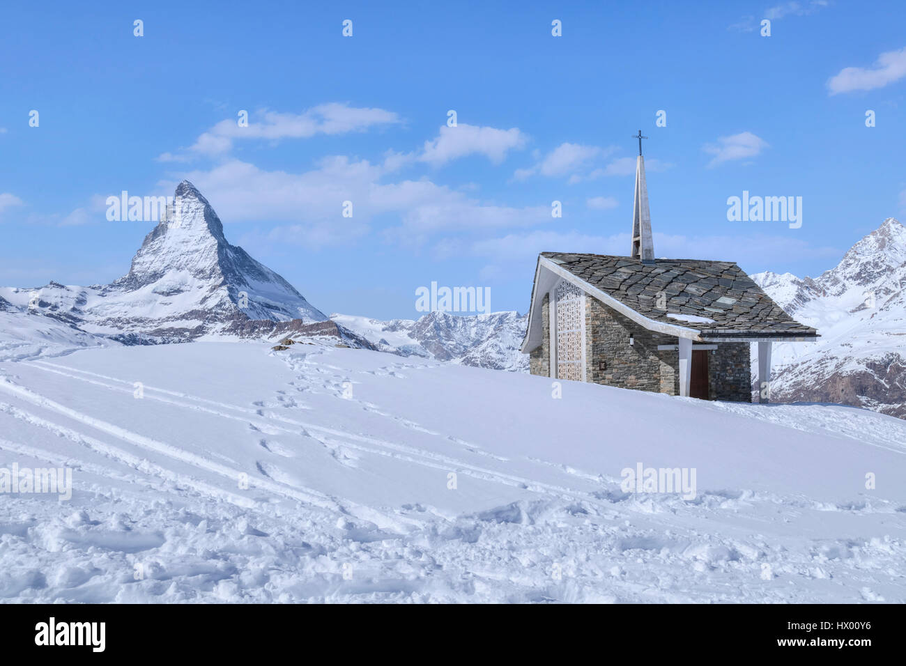 Bruder Klaus, Riffelberg Kapelle, Matterhorn, Zermatt, Gornergrat, Valais, Switzerland, Europe - Stock Image