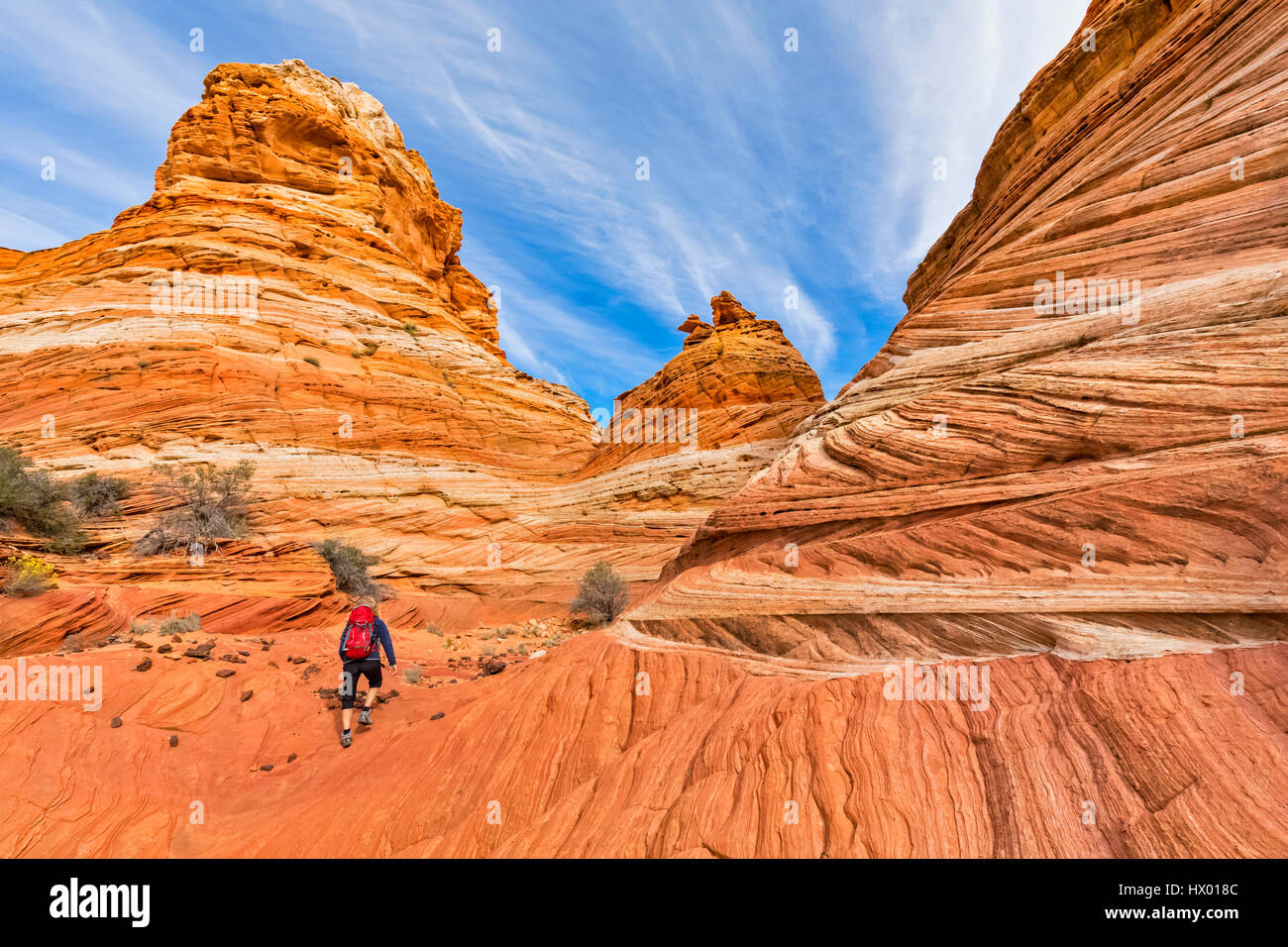 USA, Arizona, Page, Paria Canyon, Vermillion Cliffs Wilderness, Coyote Buttes, tourist hiking at red stone pyramids Stock Photo
