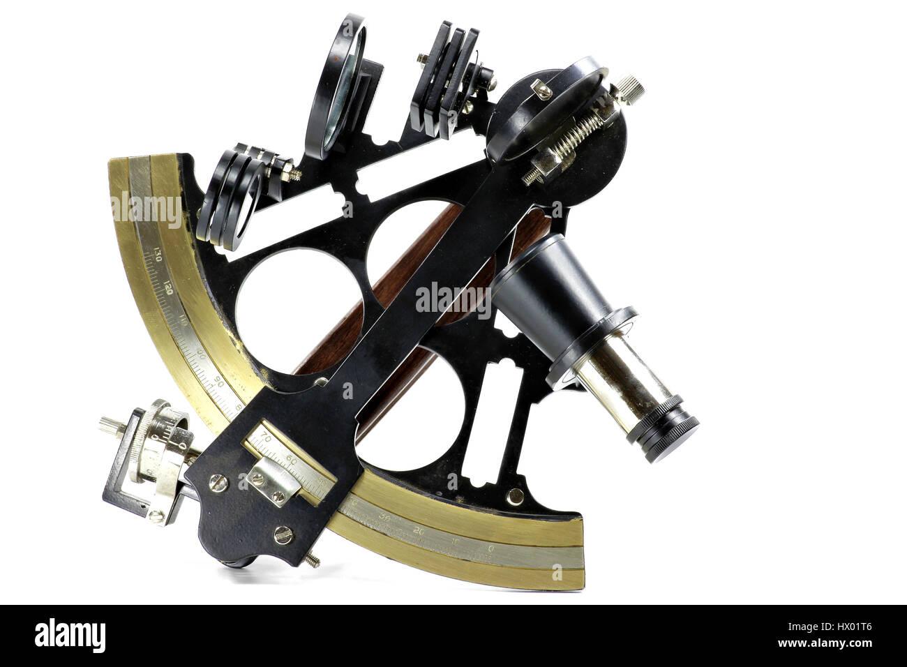 marine sextant isolated on white background - Stock Image