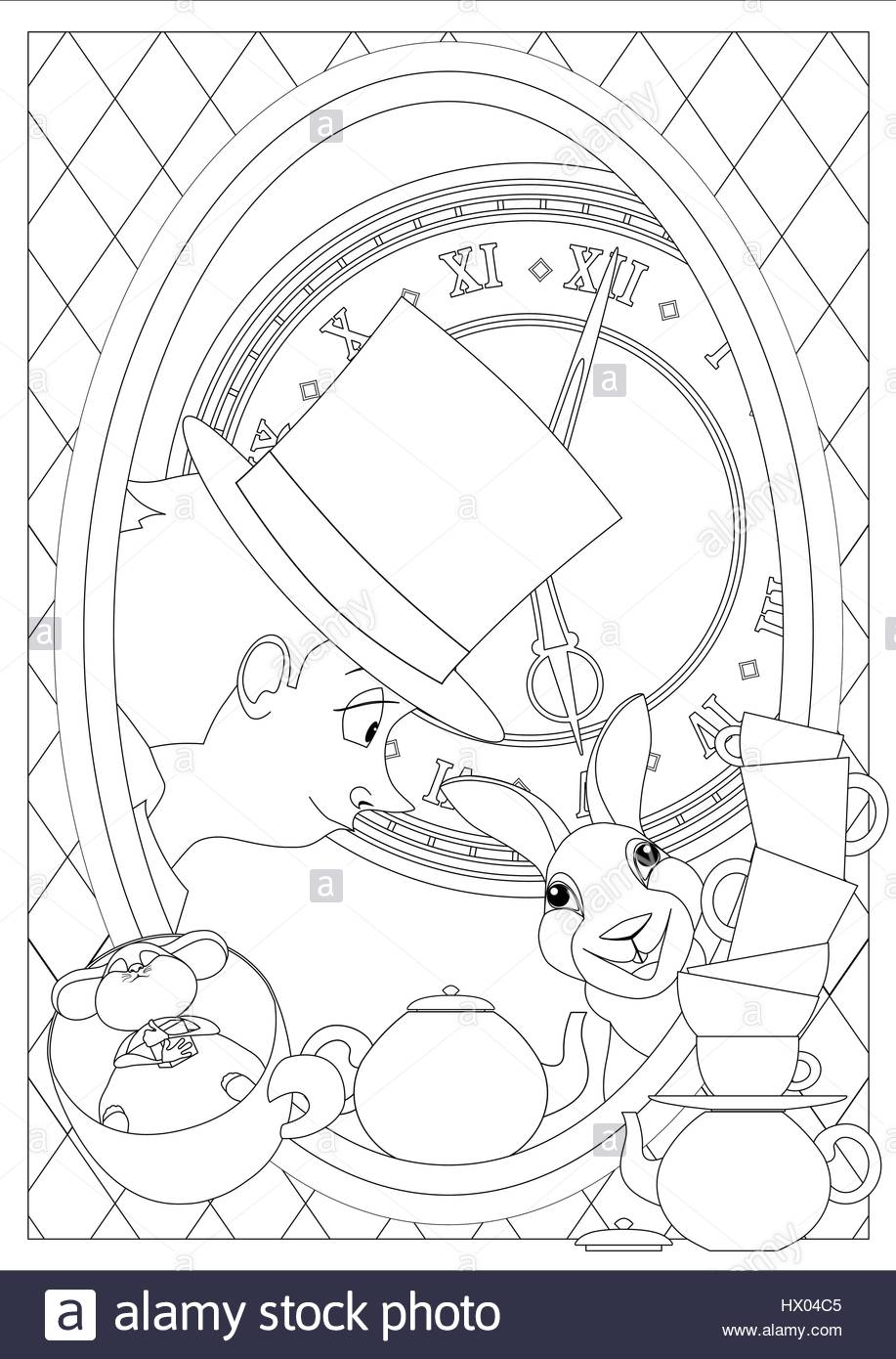 Coloring Page. Alice in Wonderland. Mad tea party. Hatter, Dormouse ...