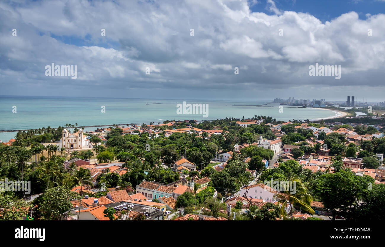 High view of Olinda and Recife skyline - Pernambuco, Brazil - Stock Image