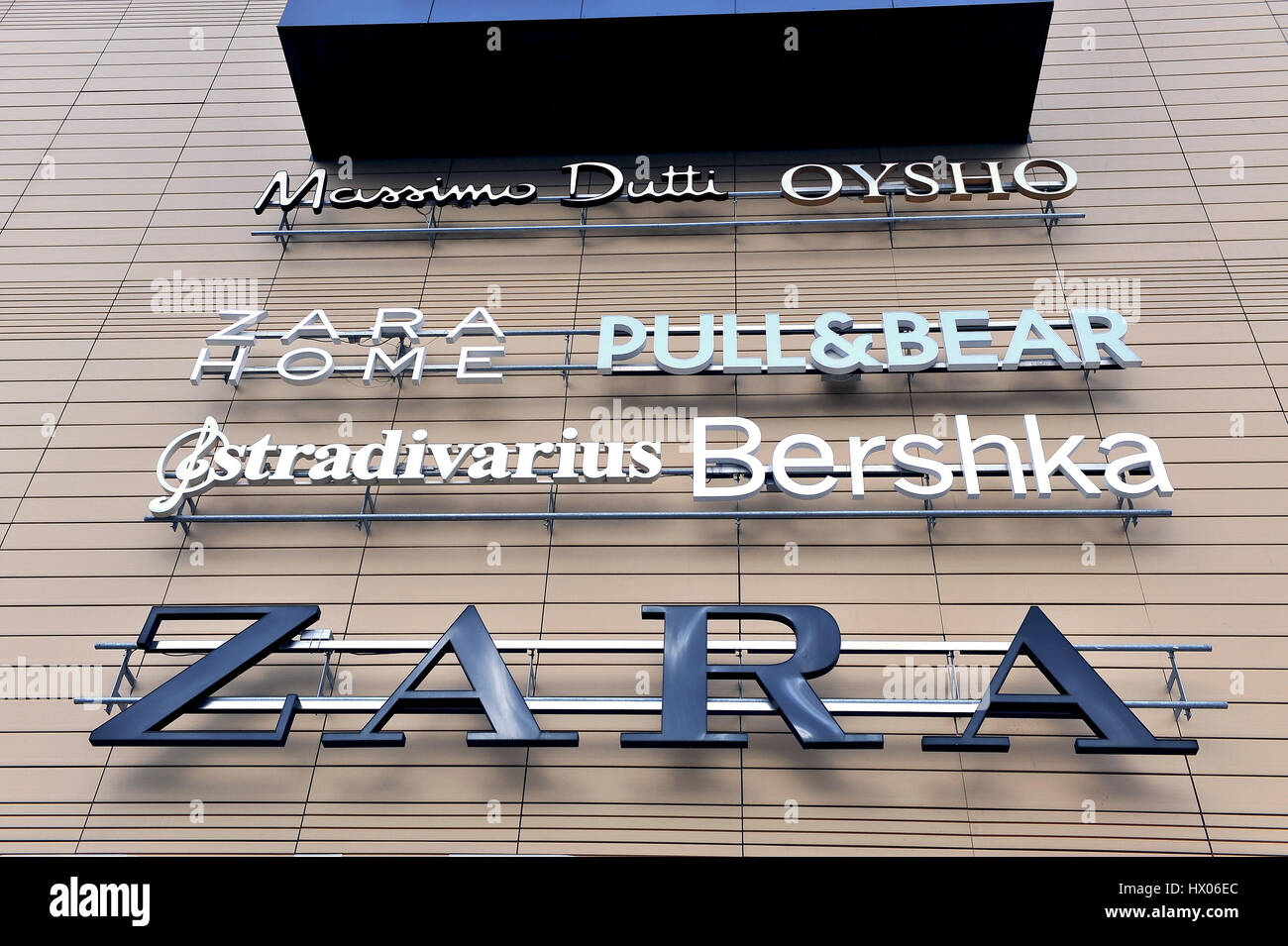 SPLIT, CROATIA - FEBRUARY 18: Logotypes of Inditex brands in Mall of Split on February 18, 2017. Inditex is the - Stock Image