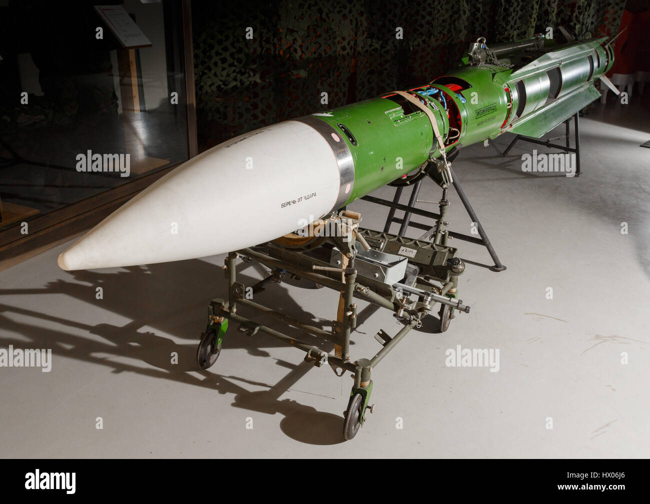 Instruction version of the Buk M1 surface-to-air missile on display at the Anti-Aircraft Museum in Tuusula, Finland. - Stock Image