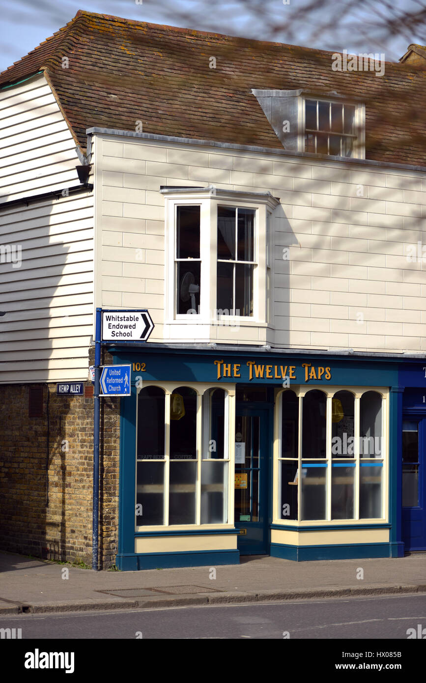 The Twelve Taps pub in Whitstable, Kent, Uk - Stock Image