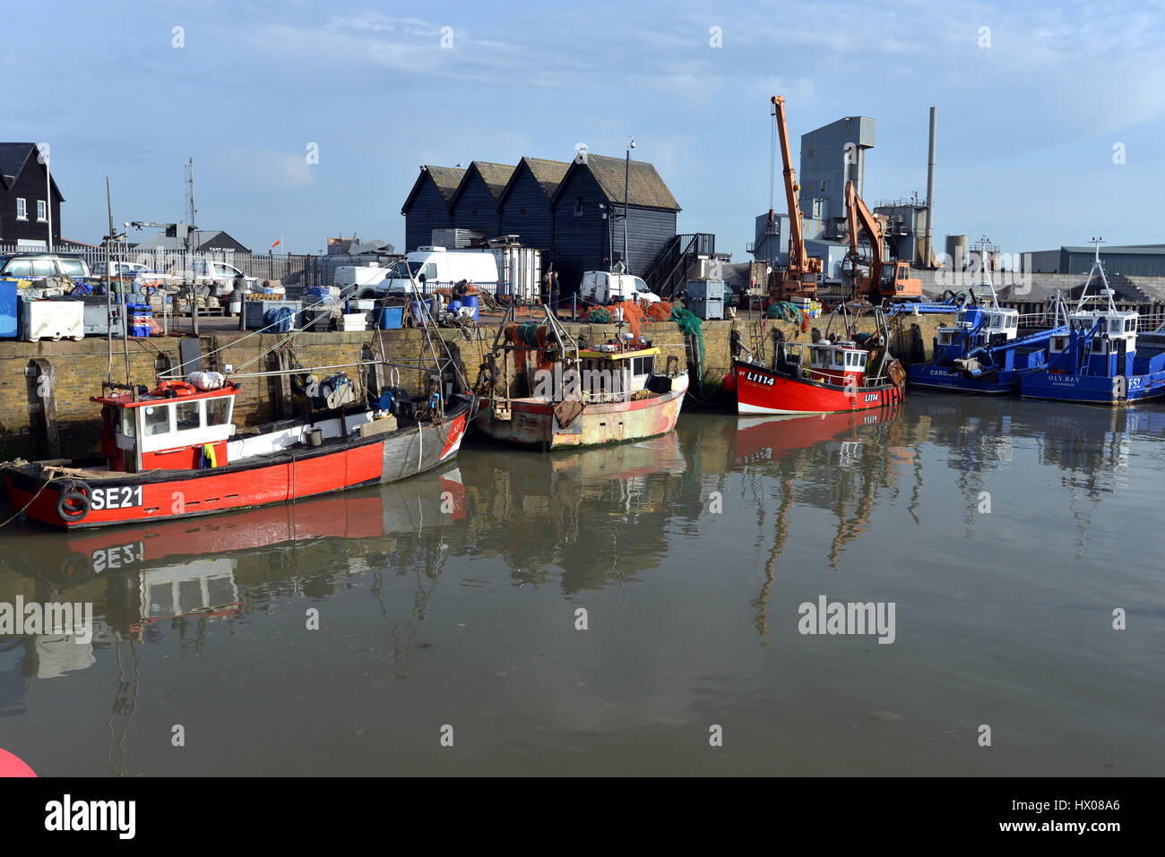 Fishing boats in Whistable Harbour, Kent Stock Photo
