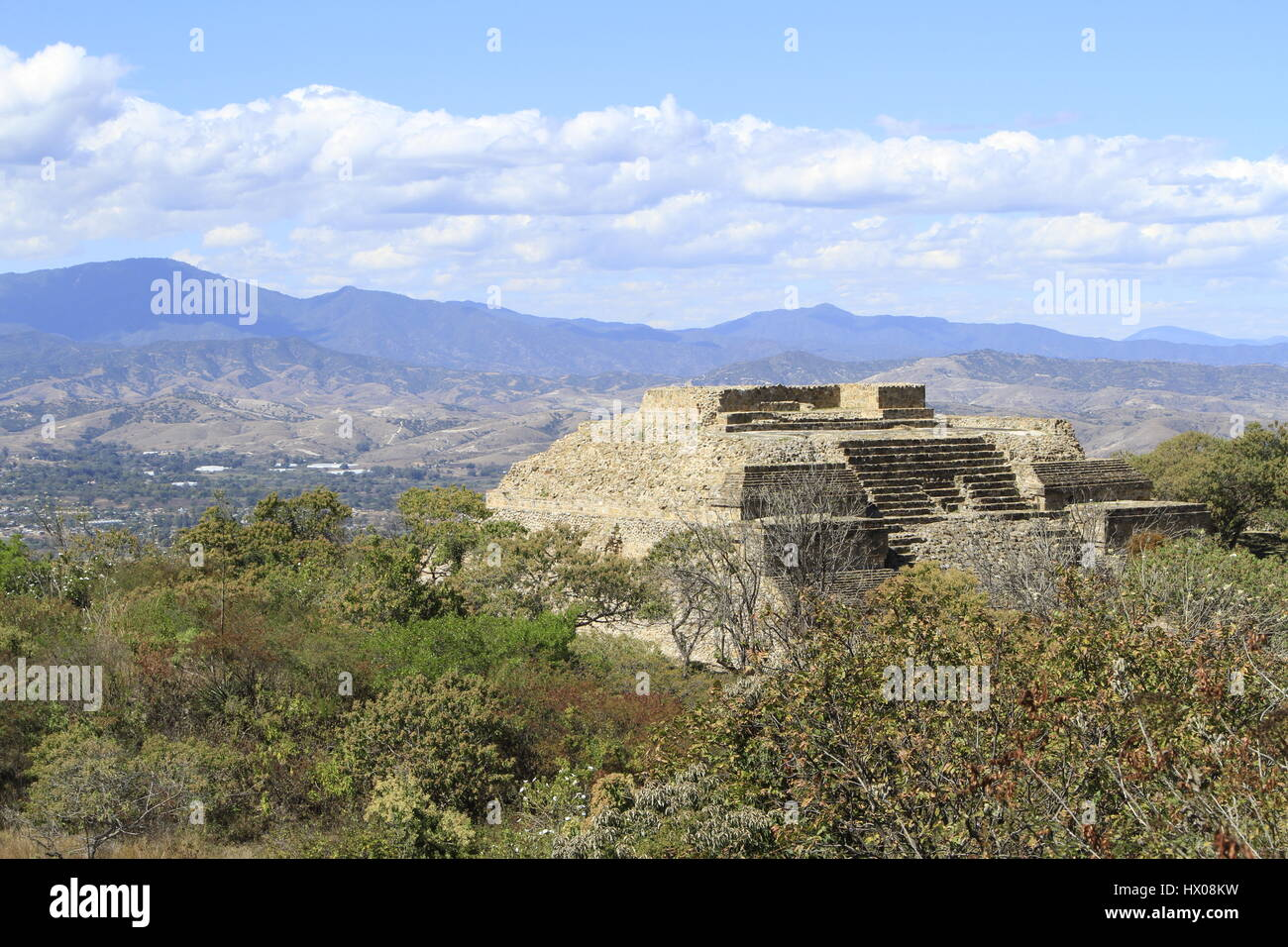 Monte Alban, Pre-Colombian Archeological Site, Oaxaca, Mexico - Stock Image