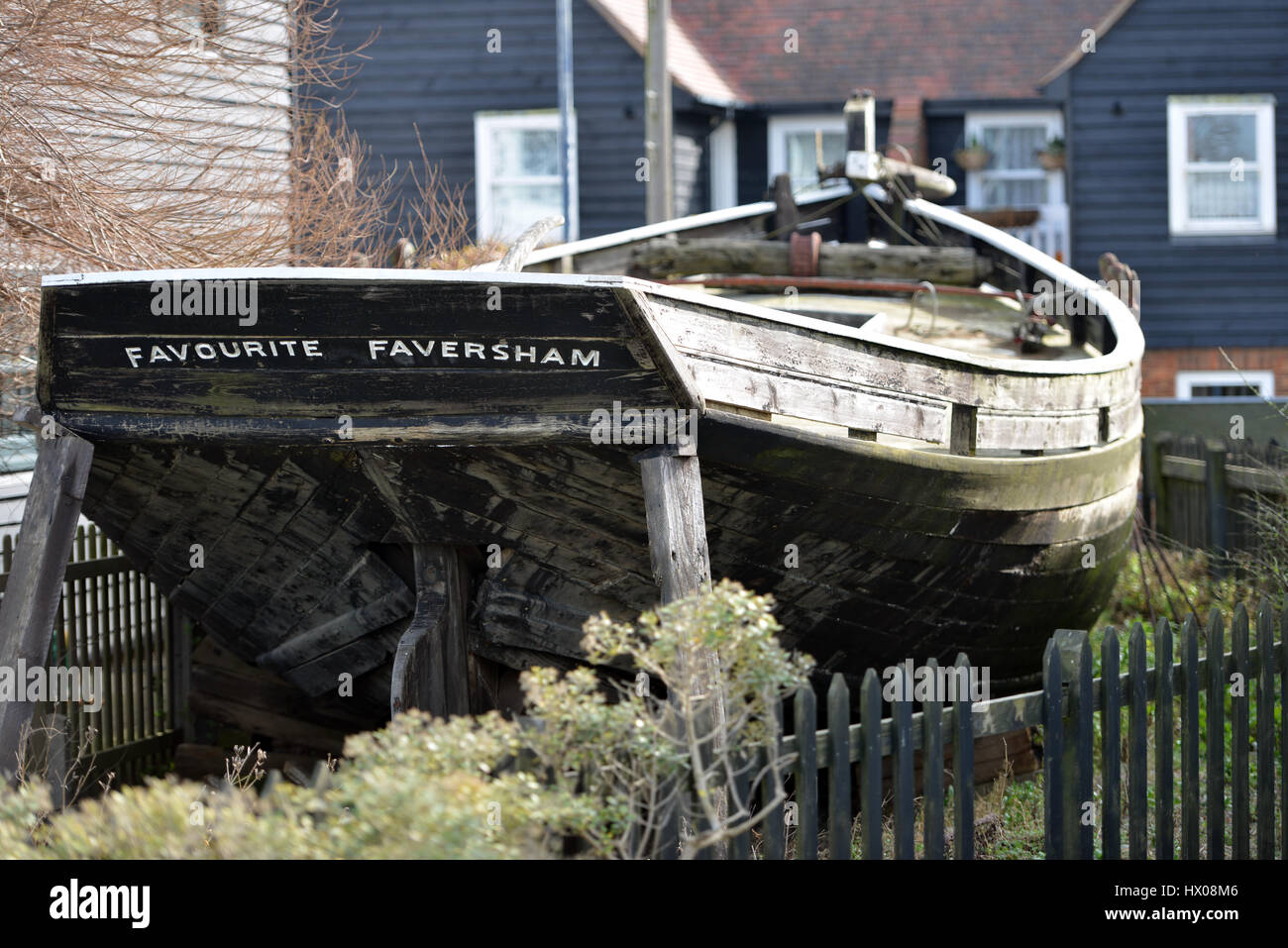 Old Favourite, historic oyster fishing boat, Whitstable, Kent - Stock Image
