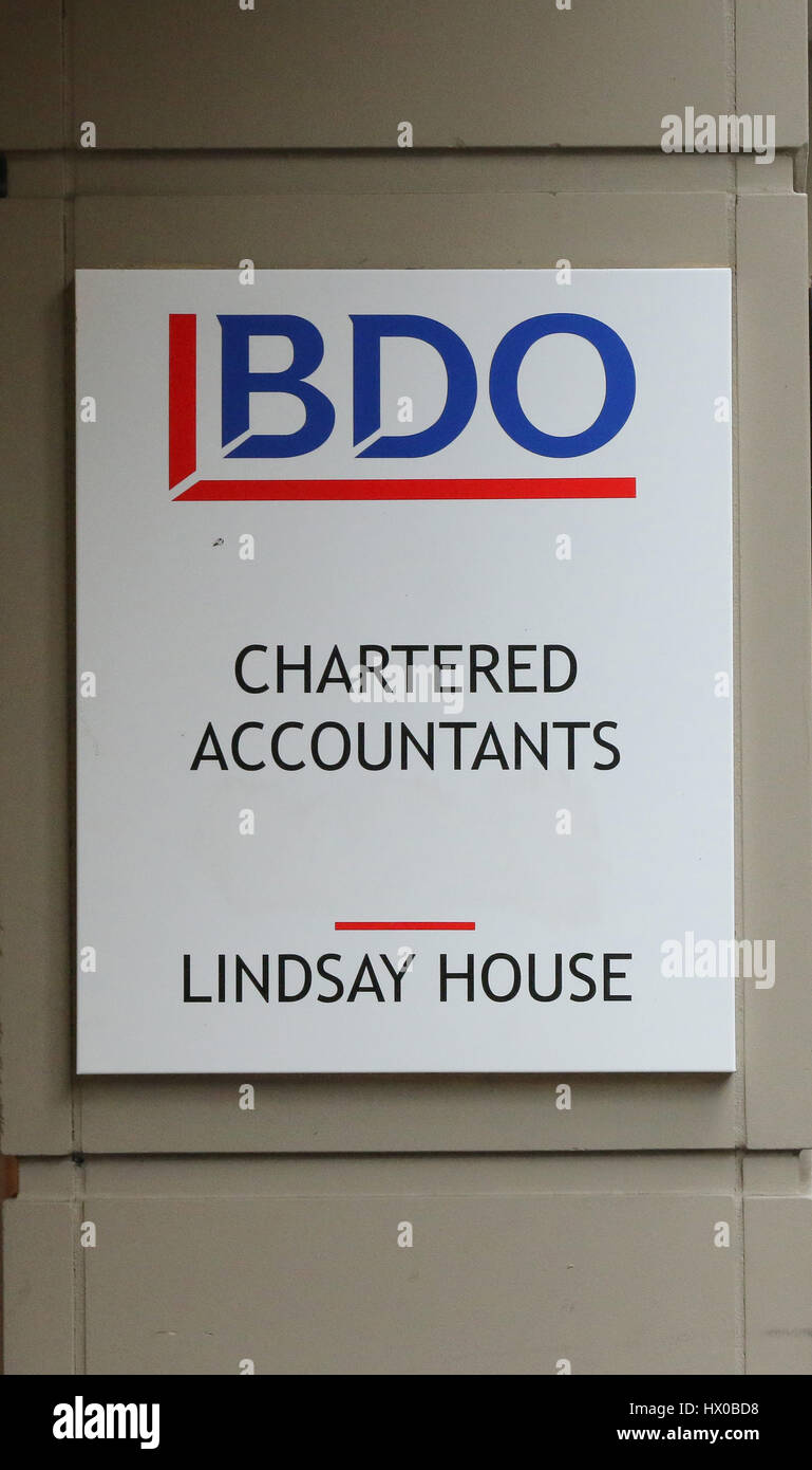 BDO Chartered Accountants sign in Belfast, Northern Ireland. - Stock Image