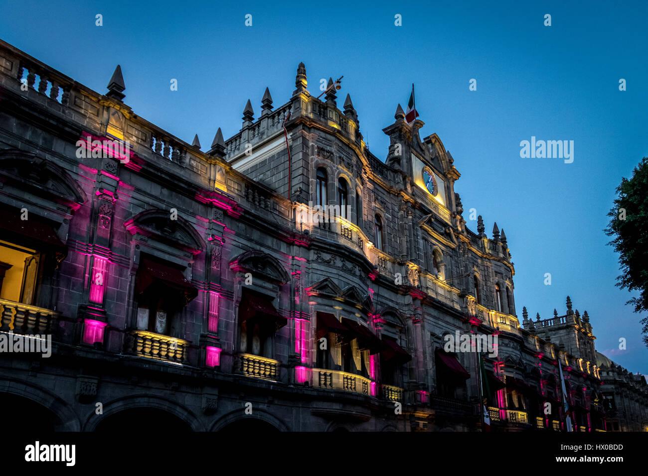 Municipal Palace at night - Puebla, Mexico - Stock Image