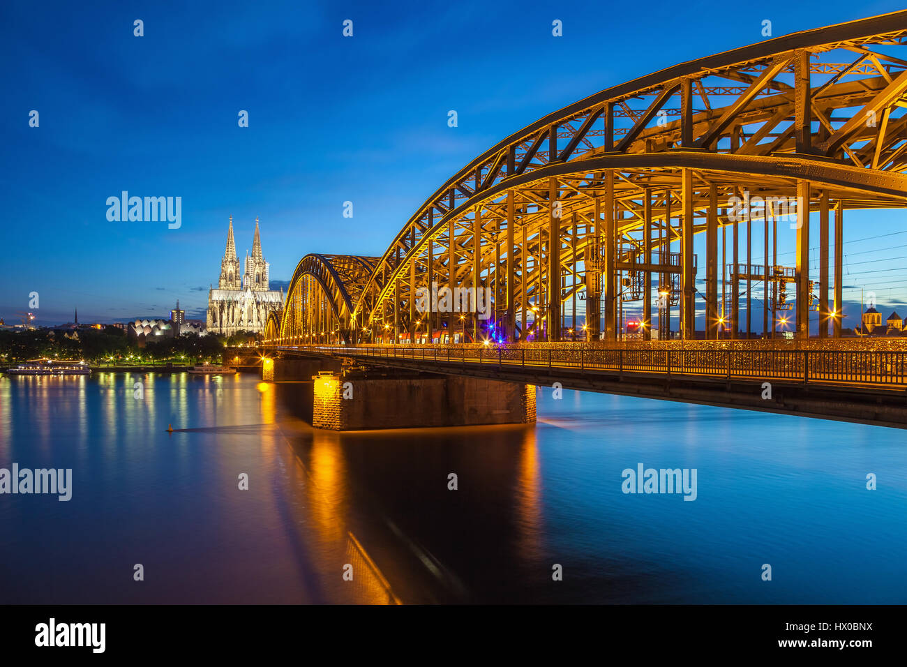 Cologne city skyline at night, Cologne, Germany - Stock Image