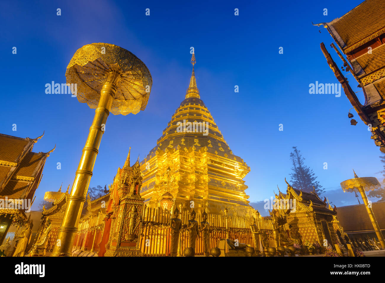 Wat Phra That Doi Suthep at night, Chiang mai, Thailand (public temple no ticket fee) - Stock Image