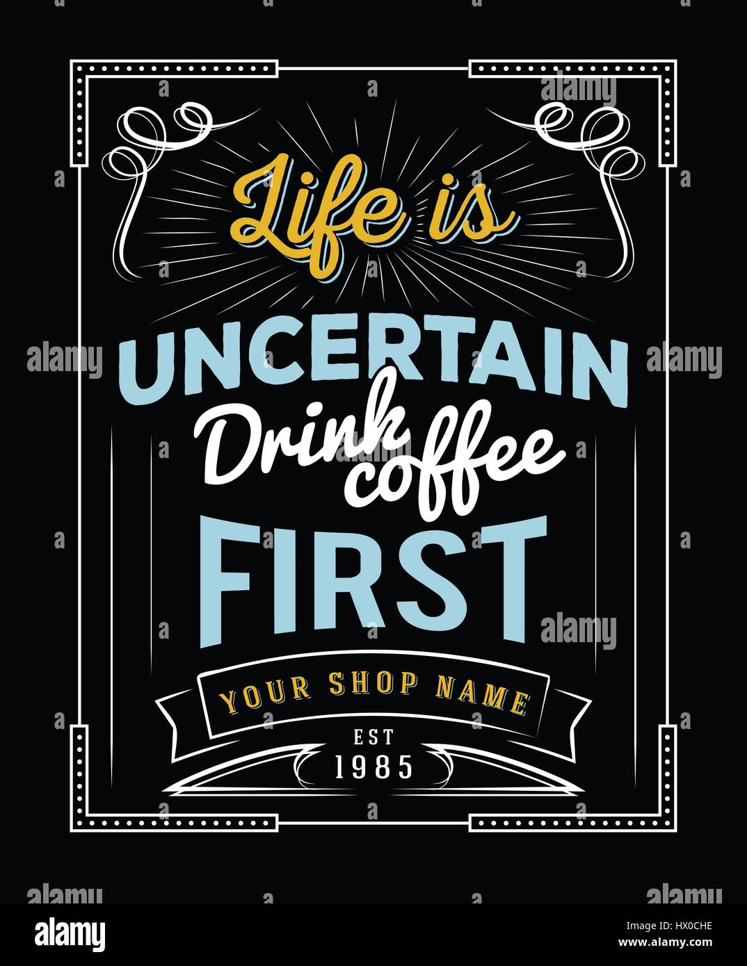 Typography Quotes Life Is Uncertain Drink Coffee First For Coffee