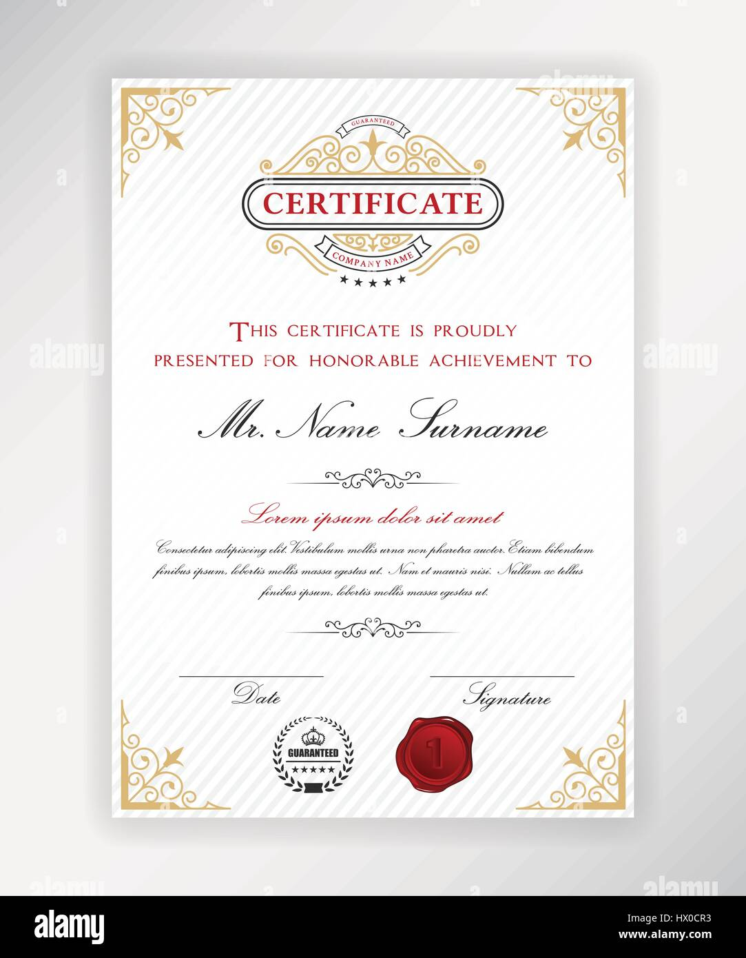 Certificate Template Design With Emblem Flourish Border On White