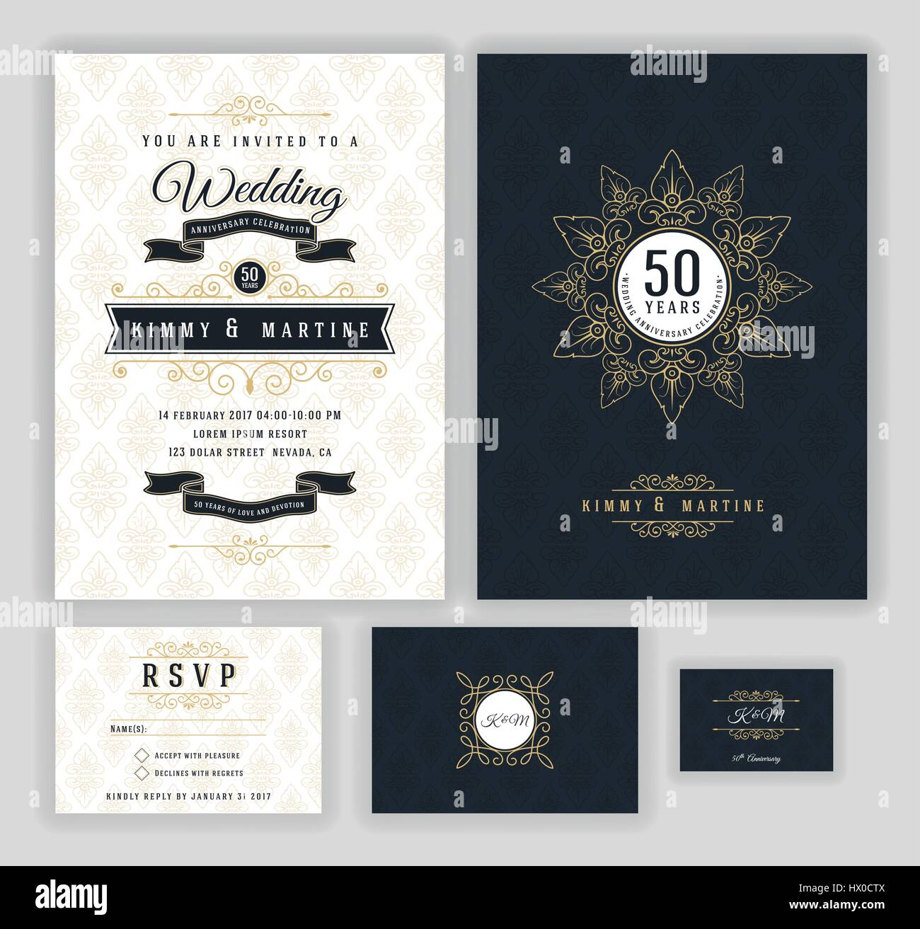 Wedding anniversary celebration party invitation design template wedding anniversary celebration party invitation design template luxury frame elements and background vector illustration stopboris Image collections